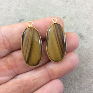 "One Pair of OOAK Gold Plated Smooth Natural Brown Tiger Eye Oblong Oval Shaped Bezel Pendants ""TP1""- Measuring 13mm x 28mm - Gemstone"