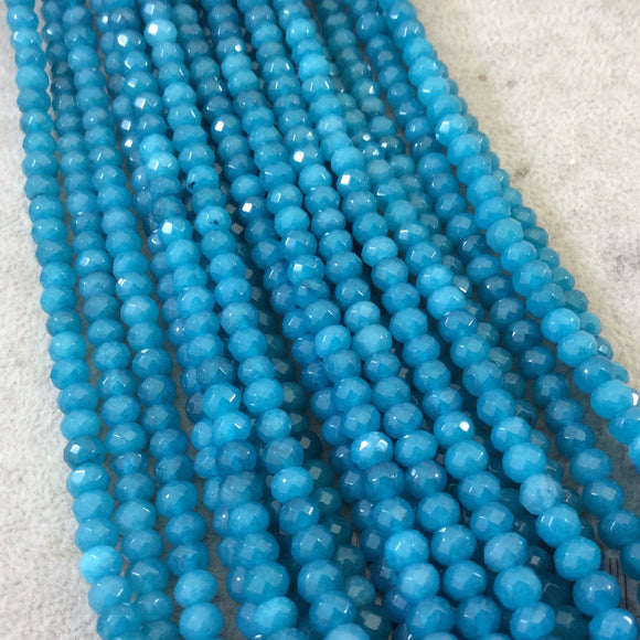6mm Faceted Dyed Teal Blue Natural Jade Rondelle Shaped Beads with 1mm Holes - Sold by 15.5