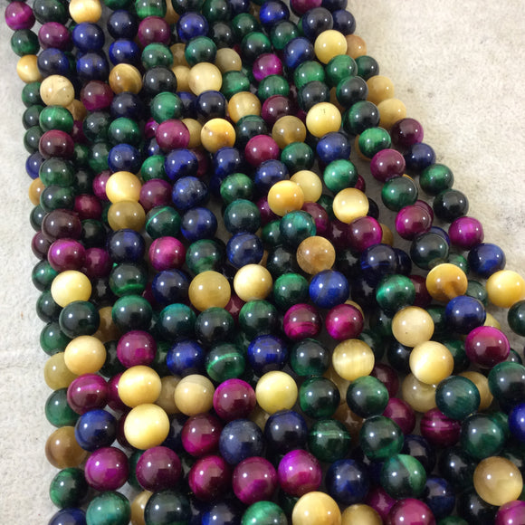 8mm Smooth Multicolor Dyed Natural Tiger Eye Round/Ball Shaped Beads with 1mm Holes - 15.5