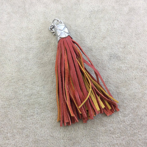 "3.5"" Silver Pillow Capped Dyed Red/Orange/Yellow Genuine Leather Tassel - Measuring 15mm x 85mm, Including Cap - Sold Individually, Random"
