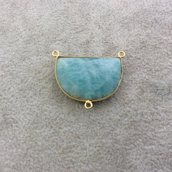 Gold Plated Natural Amazonite Faceted Half-Moon Shaped Copper Bezel Pendant/Connector - Measures 30mm x 20mm - Sold Individually, Random