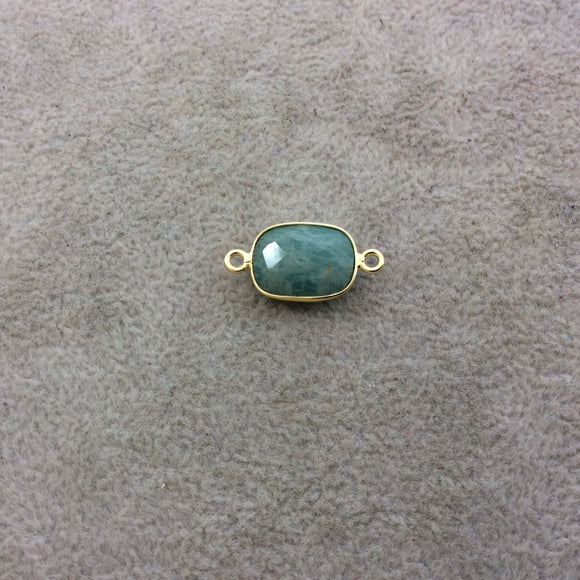 Gold Plated Natural Amazonite Faceted Rectangle Shaped Copper Bezel Connector - Measures 10mm x 14mm - Sold Individually, Random