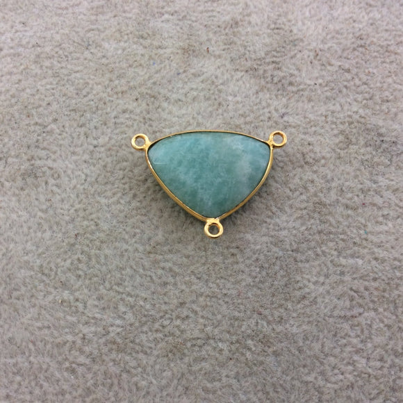 Gold Plated Natural Amazonite Faceted Triangle Shaped Copper Bezel Pendant/Connector - Measures 24mm x 18mm - Sold Individually, Random