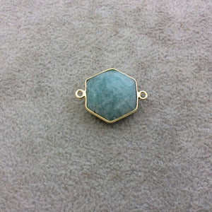 Gold Plated Natural Amazonite Faceted Hexagon Shaped Copper Bezel Connector/Link - Measures 18mm x 18mm - Sold Individually, Random