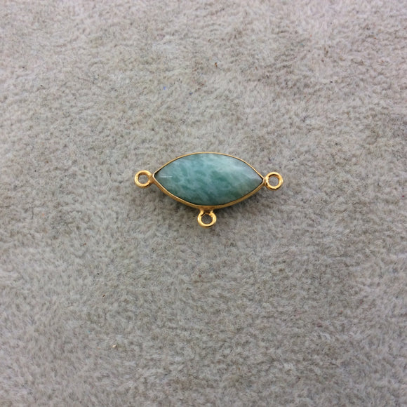 Gold Plated Natural Amazonite Faceted Marquise Shaped Copper Bezel Pendant/Connector - Measures 20mm x 10mm - Sold Individually, Random
