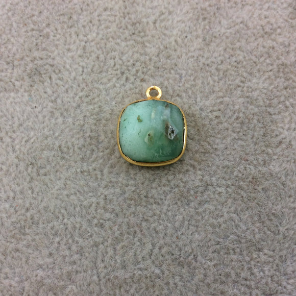 Gold Plated Natural Green Chrysoprase Faceted Square Shaped Copper Bezel Pendant - Measures 14mm x 14mm - Sold Individually, Random