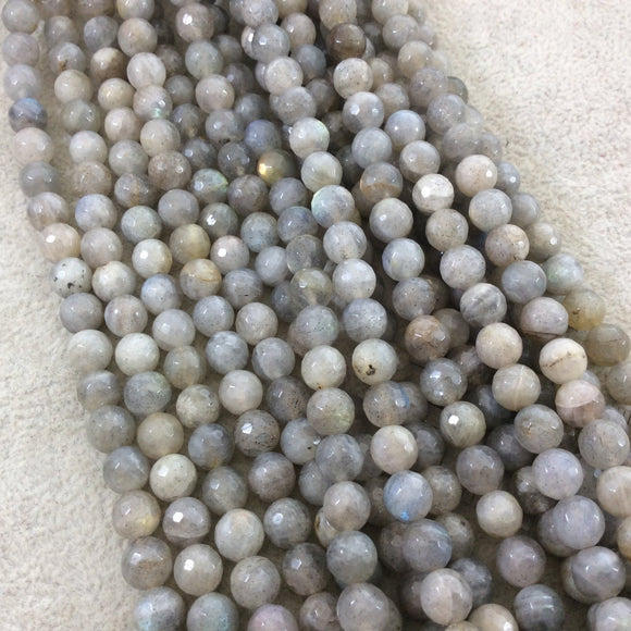 7mm Faceted Natural Iridescent Labradorite Round/Ball Shape Beads with 1mm Holes - Sold by 16