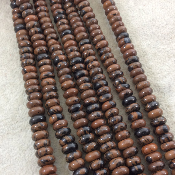 5mm x 8mm Smooth Finish Natural Mahogany Obsidian Rondelle Shaped Beads with 1mm Holes - Sold by 15.5