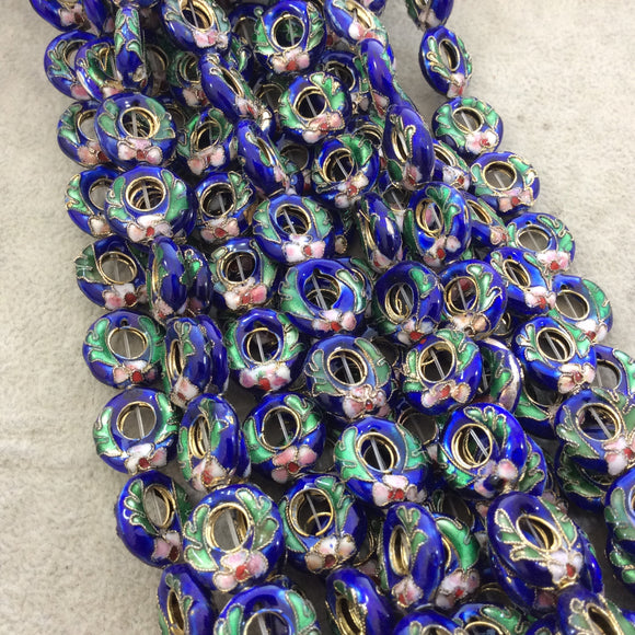 15mm Decorative Floral Cobalt Blue Donut/Ring Shaped Metal/Enamel Cloisonné Beads - Sold by 15
