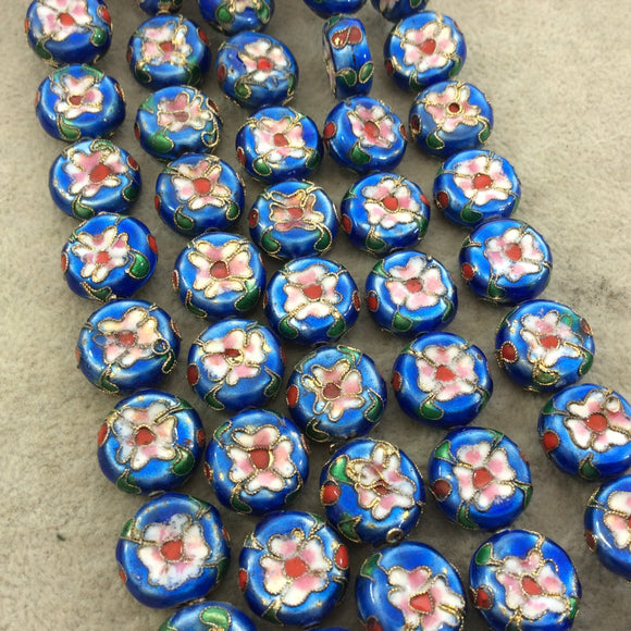 16mm Decorative Floral Medium Blue Puffed Drum Shaped Metal/Enamel Cloisonné Beads - Sold by 15