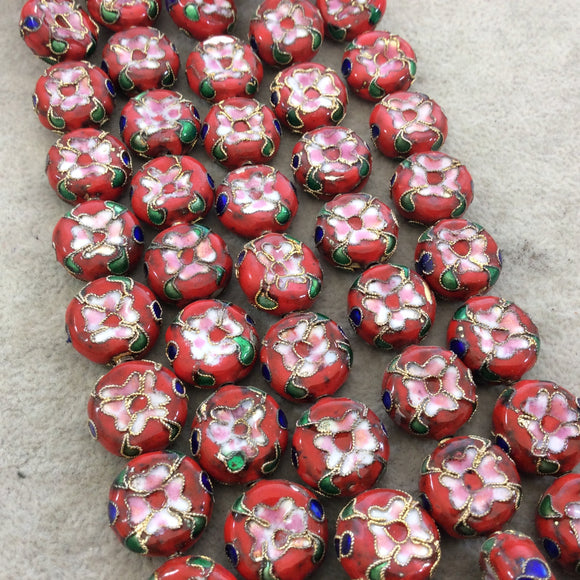 16mm Decorative Floral Multicolor Red Puffed Drum Shaped Metal/Enamel Cloisonné Beads - Sold by 15