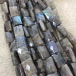 "12mm x 16mm Faceted Natural Iridescent Labradorite Rectangle Shaped Beads with 1mm Holes - 16"" Strand (Approx. 24 Beads) - Quality Gemstone"