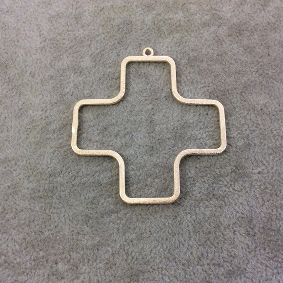 52mm x 52mm Gold Plated Copper Open Cross/Plus Symbol Shaped Pendant Components - Sold in Packs of 10 Components (193-GD)