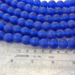 "12mm Matte Cobalt Blue Irregular Rondelle Shaped Indian Beach/Sea Glass Beads - Sold by 16"" Strands - Approximately 34 Beads per Strand"
