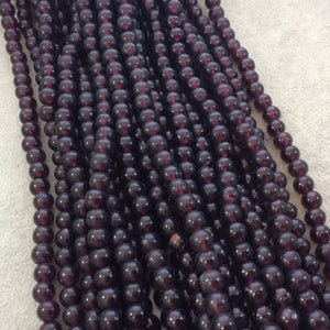 "6mm Glossy Deep Red/Purple Irregular Rondelle Shaped Indian Beach/Sea Glass Beads - Sold by 15"" Strands - Approximately 63 Beads"