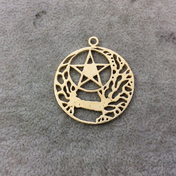 Gold Plated Copper Brushed Rooted Pentacle/Star Cut-Out Circle/Disc Shaped Components - Measuring 36mm x 36mm - Sold in Packs of 4 (348-GD)
