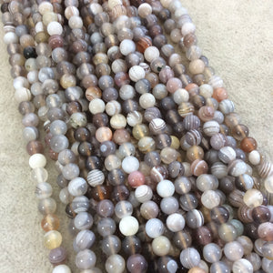 "6mm Smooth Natural Botswana Agate Round/Ball Shaped Beads with 1mm Holes - Sold by 15.25"" Strands (Approx. 66 Beads) - Quality Gemstone"
