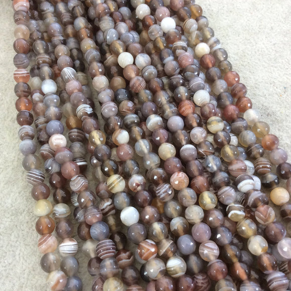 6mm Faceted Natural Botswana Agate Round/Ball Shaped Beads with 1mm Holes - Sold by 15.25