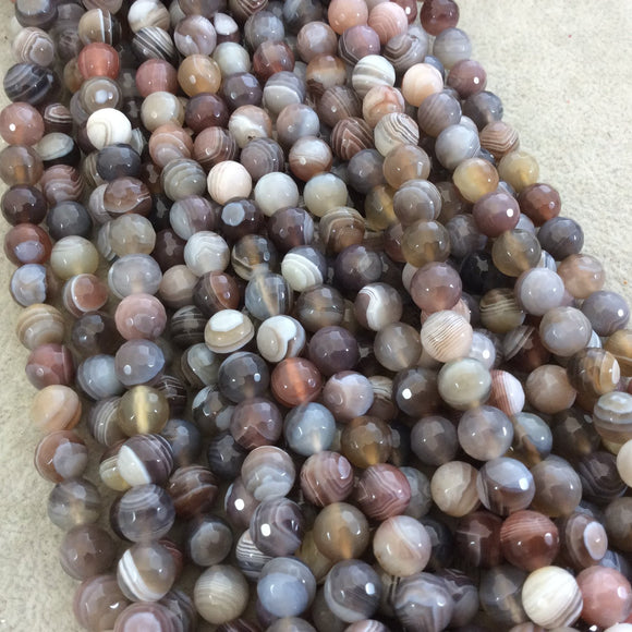 8mm Faceted Natural Botswana Agate Round/Ball Shaped Beads with 1mm Holes - Sold by 15.5