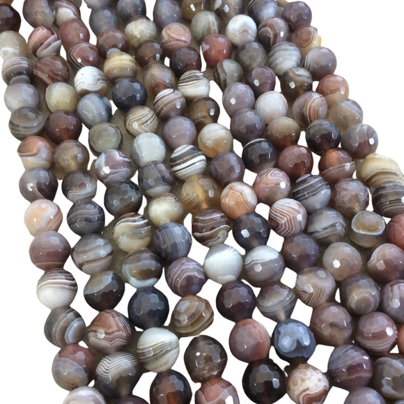 10mm Faceted Natural Botswana Agate Round/Ball Shaped Beads with 1mm Holes - Sold by 15.25