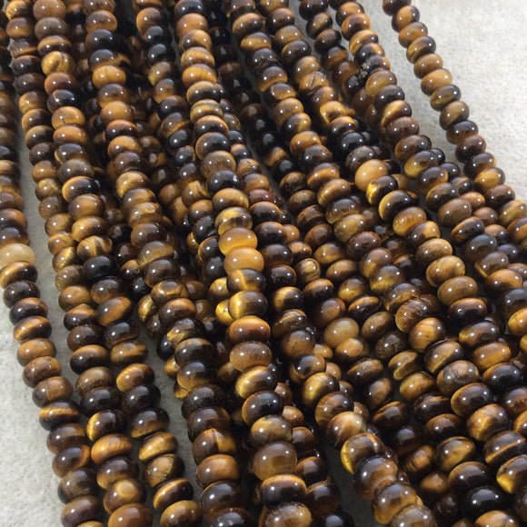 5mm x 8mm Smooth Natural Brown Tiger's Eye Rondelle/Disc Shaped Beads with 1mm Holes - Sold by 15.75