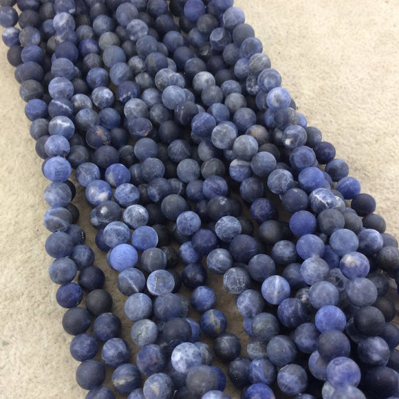 6mm Matte Natural Sodalite Round/Ball Shaped Beads with 1mm Holes - Sold by 15.25