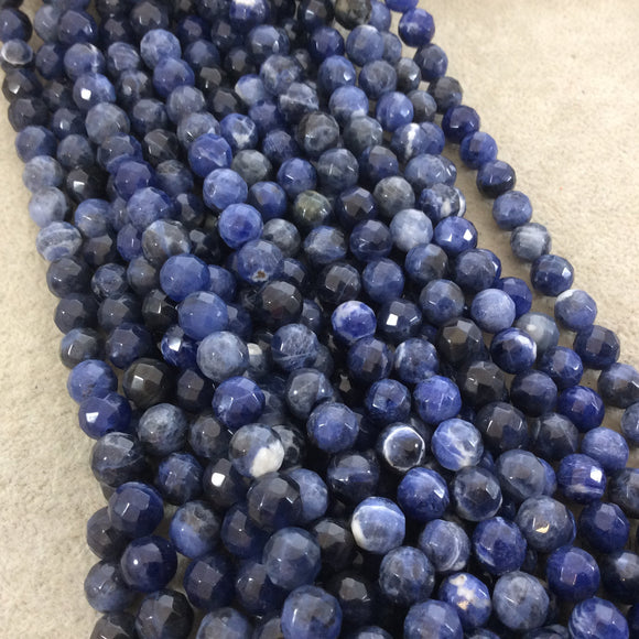 8mm Faceted Natural Sodalite Round/Ball Shaped Beads with 1mm Holes - Sold by 15