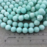 "12mm Faceted Dyed Light Mint Green Natural Jade Round/Ball Shape Beads with 1mm Beading Holes - Sold by 15"" Strands (Approximately 32 Beads)"