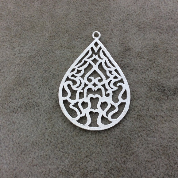 Large Silver Plated Filigree Teardrop/Pear Shaped Brushed Finish Copper Components - Measuring 38mm x 51mm - Sold in Packs of 4 (395-SV)