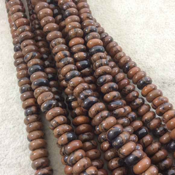 5mm x 8mm Glossy Finish Natural Mahogany Obsidian Rondelle Shaped Beads with 2.5mm Holes - 8