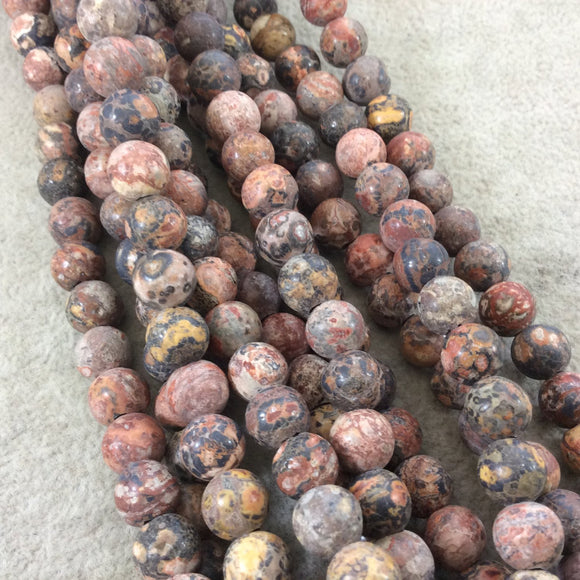 8mm Semi-Gloss Finish Natural Leopardskin Jasper Round/Ball Shaped Beads with 2.5mm Holes - 8