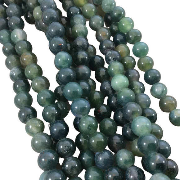 10mm Semi-Gloss Finish Natural Green Moss Agate Round/Ball Shaped Beads - LARGE HOLE BEADS