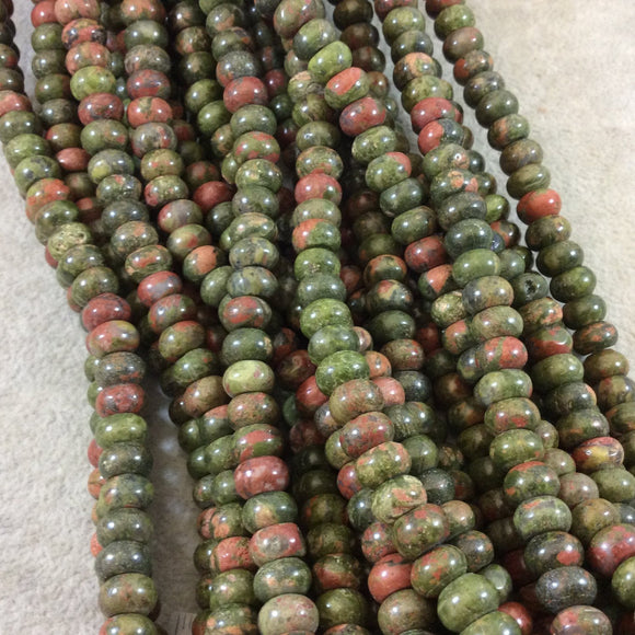 5mm x 8mm Smooth Finish Natural Green/Pink Unakite Rondelle Shaped Beads with 1mm Holes - Sold by 15.5