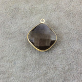 Gold Plated Faceted Smoky Brown Hydro (Lab Created) Quartz Diamond Shaped Bezel Pendant - Measuring 18mm x 18mm - Sold Individually
