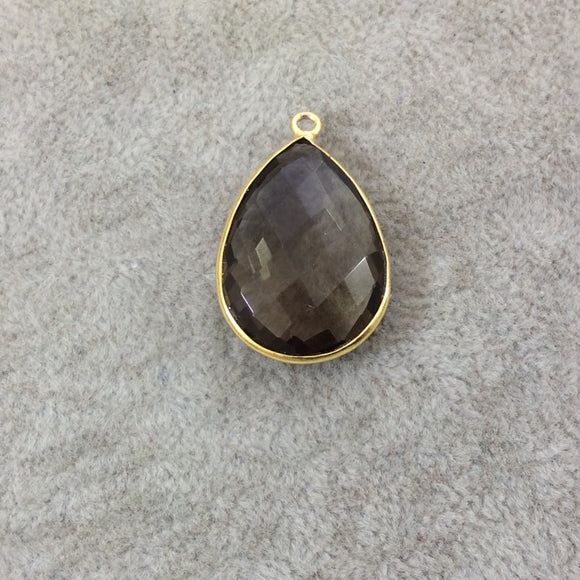 Gold Plated Faceted Smoky Brown Hydro (Lab Created) Quartz Teardrop/Pear Shaped Bezel Pendant - Measuring 18mm x 25mm - Sold Individually