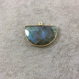 Gold Plated Faceted Natural Labradorite Half-Moon Shaped Bezel Pendant - Measuring 30mm x 20mm - Sold Individually, Chosen Randomly