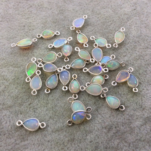Sterling Silver Smooth Teardrop/Pear Shaped Genuine Ethiopian Opal Bezel Connector - Measuring 5mm x 8-9mm - Sold Individually, Random