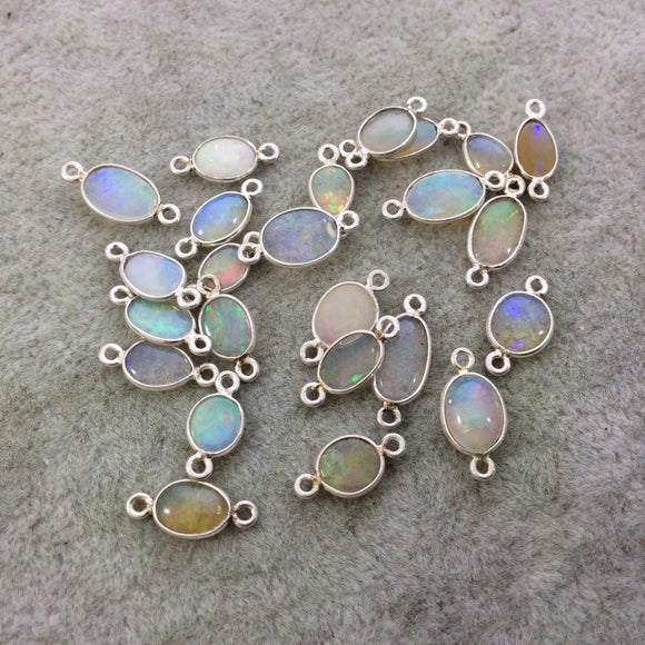 Sterling Silver Smooth Oblong Oval Shaped Genuine Ethiopian Opal Bezel Connector - Measuring 5-6mm x 6-10mm - Sold Individually, Random
