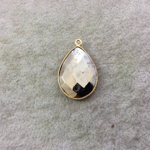 Gold Plated Faceted Natural Metallic Pyrite Pear/Teardrop Shaped Bezel Pendant Component - Measuring 18mm x 25mm - High Quality Gemstone