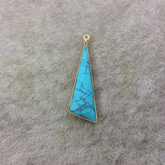 Gold Plated Faceted Dyed Howlite Triangle/Sail Shaped Bezel Drop/Charm Component - Measuring 16mm x 47mm - Sold Individually, Random