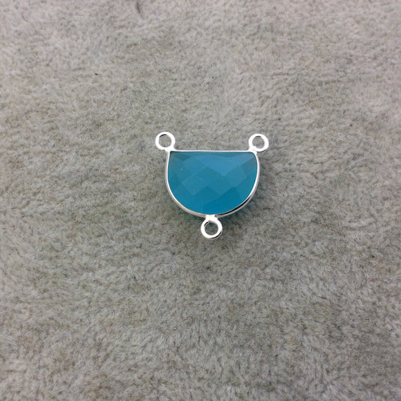 Sterling Silver Faceted Half Moon Shaped Aqua Blue Hydro (Man-made) Chalcedony Bezel Pendant - Measuring 16mm x 12mm - Sold Individually