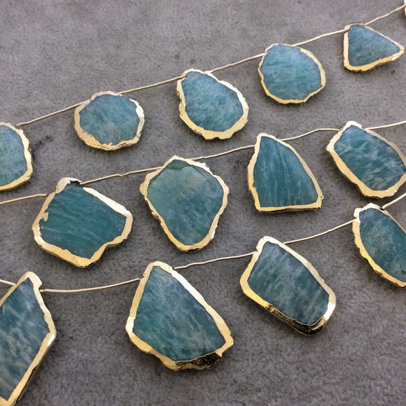 Gold Electroplated Smooth Freeform Slab Shaped Natural Amazonite Top-Drilled Beads - 9.5