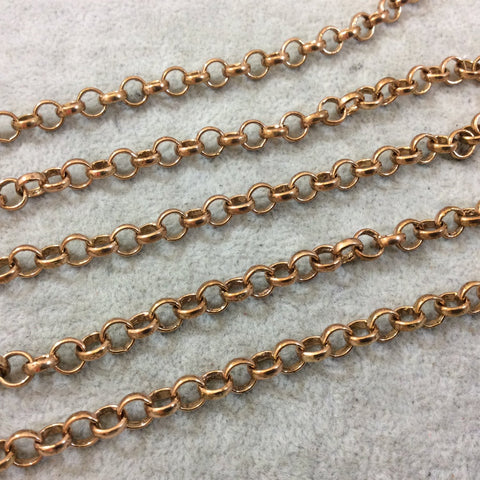 5' Section of 6mm Medium Copper Plated Copper Round Link Rolo Style Chain - Available in Four Different Finishes, Check Related Links!