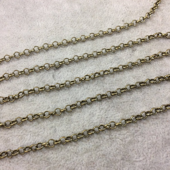 5' Section of 4mm Antique Bronze Plated Copper Round Link Rolo Style Chain - Available in Four Different Finishes, Check Related Links!