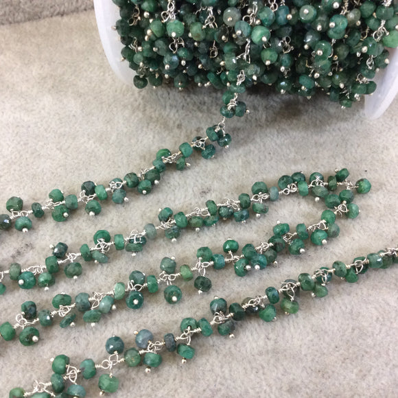 Silver Plated Copper Double Dangle Rosary Chain with 3-4mm Faceted Natural Emerald Rondelle Beads - Sold by 1' Cut Sections or in Bulk!
