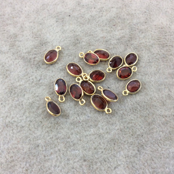 BULK LOT - Pack of Six (6) Gold Vermeil Pointed/Cut Stone Faceted Oblong Oval Shaped Deep Red Garnet Bezel Pendants - Measuring 5mm x 7mm