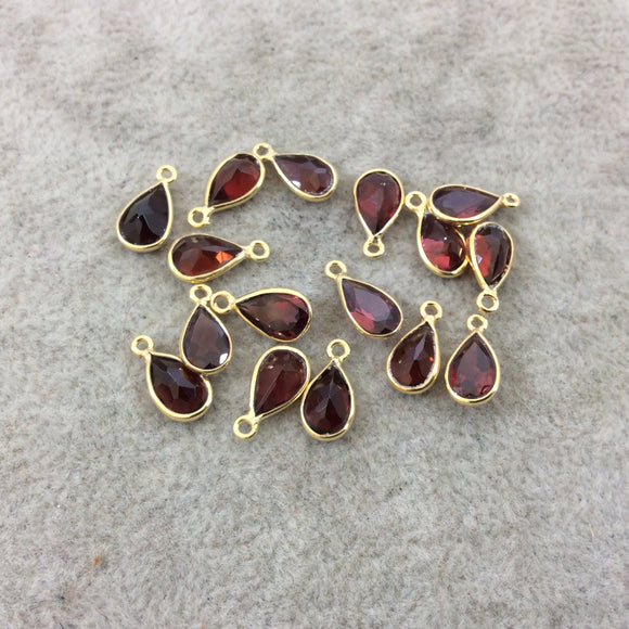 BULK LOT - Pack of Six (6) Gold Vermeil Pointed/Cut Stone Faceted Teardrop Shaped Deep Red Garnet Bezel Pendants - Measuring 5mm x 8mm