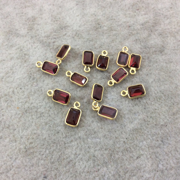 BULK LOT - Pack of Six (6) Gold Vermeil Pointed/Cut Stone Faceted Rectangle Shaped Deep Red Garnet Bezel Pendants - Measuring 4mm x 6mm