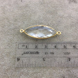 Gold Vermeil Faceted Clear Hydro (Lab Created) Quartz Marquise Shaped Bezel Connector - Measuring 15mm x 36mm - Sold Individually