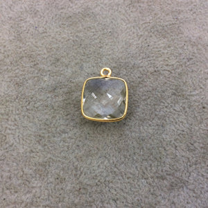 Gold Vermeil Faceted Clear Hydro (Lab Created) Quartz Square Shaped Bezel Pendant - Measuring 15mm x 15mm - Sold Individually